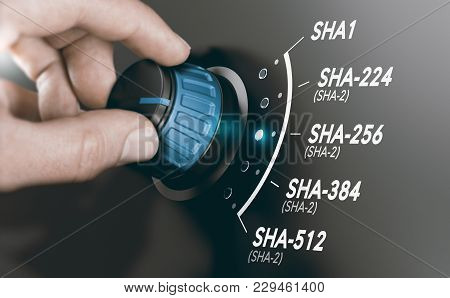 Man Turning A Cryptography Switch To Change The Cryptographic Hash Algorithm To Sha-256. Composite I