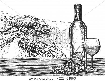 Vector Illustration Of A Wine Glass, Bottle And Grapes Bunch On A Wooden Surface Still Life. Winery