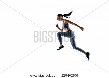 Side Profile View Full Size Full Length Portrait Of Sporty Energetic Serious Healthy Dynamic Sportsw