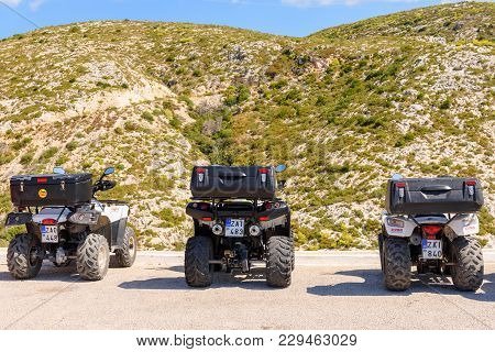 Zakynthos, Greece - October 1, 2017: Quads Parked On Mounatin Road. Quad Is Very Popular Means Of Tr