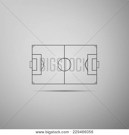 Football Field Or Soccer Field Icon Isolated On Grey Background. Flat Design. Vector Illustration