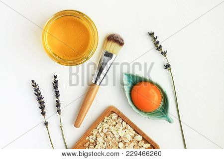 Nourishing Skin Care Natural Treatment, Facial Mask With Egg Yolk, Honey, Oat Flakes, Ingredients Vi