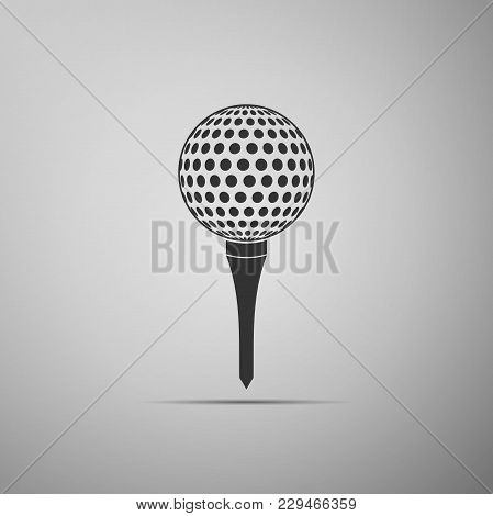 Golf Ball On Tee Icon Isolated On Grey Background. Flat Design. Vector Illustration