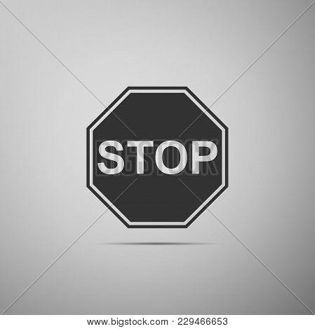 Stop Sign Icon Isolated On Grey Background. Traffic Regulatory Warning Stop Symbol. Flat Design. Vec
