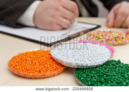 The Businessman Signs A Contract For The Supply Of Plastic Granules For The Industry. Plastic Raw Ma