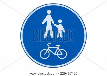 Pedestrian And Bicycle Shared Road Sign Isolated On White.