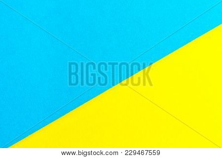 Yellow And Blue Paper Texture Background Color. Trending Colors, Geometric Background Of The Paper.