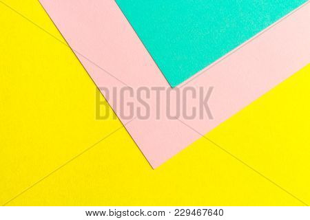 Turquoise, Yellow And Pink Color Paper Texture Background. Trend Colors, Geometric Paper Background.