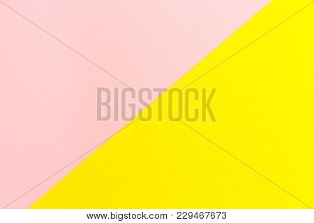 Yellow And Pink Paper Texture Background Color. Trending Colors, Geometric Background Of The Paper.