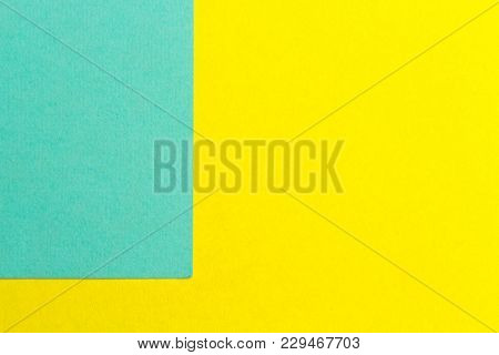 Yellow And Turquoise Paper Texture Background Color. Trending Colors, Geometric Background Of The Pa