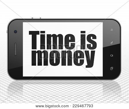Finance Concept: Smartphone With Black Text Time Is Money On Display, 3d Rendering