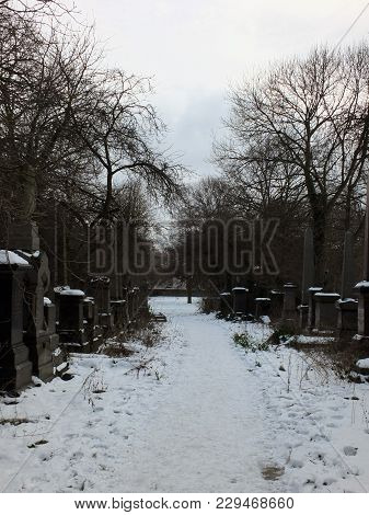 Snow Covered Gravestones Along A Path In The Former Woodhouse Lane Cemetrary In Leeds Now A Park In
