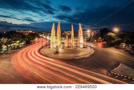 Moment Of Democracy Monument At Dusk, Bangkok City, Thailand
