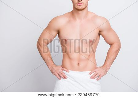Cropped Close Up Photo Of Shirtless Sexy Tempting Muscular Attractive Man's Torso, Man Is Keeping Ha