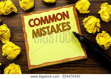 Hand Writing Text Caption Showing Common Mistakes. Business Concept For Common Concept Written On St