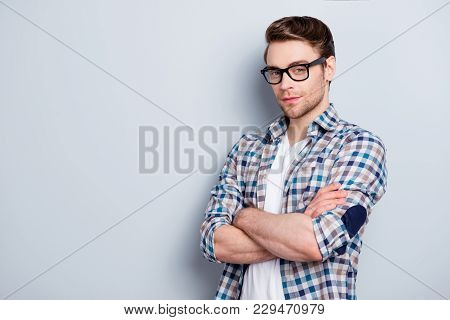 Half Turned Portrait With Copy Space  Of Smart, Clever, Confident, Intelligent Guy In Glasses, Check