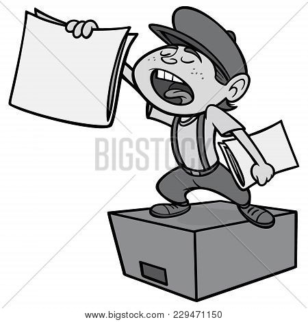 Paperboy Illustration - A Vector Cartoon Illustration Of A Paperboy On A Soapbox.