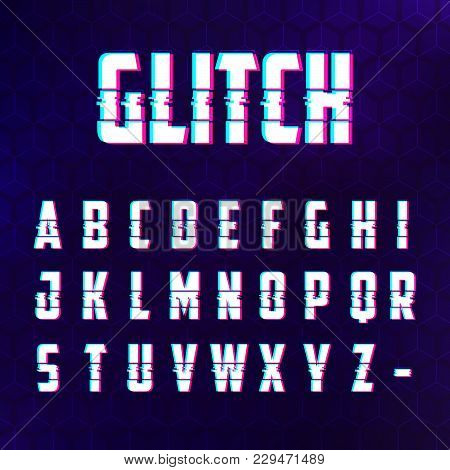 Glitch Distorted Effect Latin Alphabet For Hi-tech Style Digital Design Banners, Advertising And Oth
