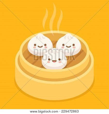 Cute Cartoon Dim Sum, Traditional Chinese Dumplings, With Funny Smiling Faces. Kawaii Asian Food Vec