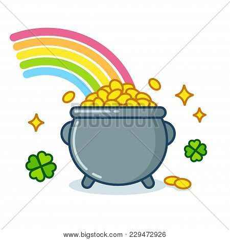 Pot Of Leprechaun Gold Under Rainbow With Golden Coins And Shamrock Leaves. Traditional St. Patricks