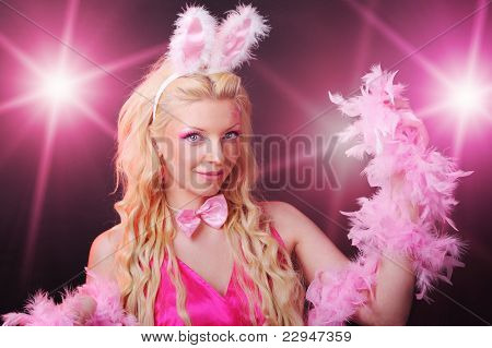 Female dressed up as rabbit cute girl in sexy playboy costume poster