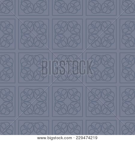 Square Patterned Restrained Blue And Dark Blue Color Vector Tile Seamless Pattern