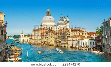 Venice, Italy. Scenic Panoramic View Of The Grand Canal With Basilica Santa Maria Della Salute. Veni