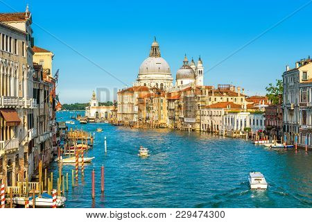 Grand Canal In Venice On A Sunny Day, Italy. Venice In The Sunlight. Scenic Panoramic View Of Venice