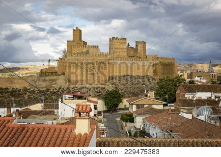 A View Of Guadix City And La Alcazaba (castle) On A Cloudy Day, Province Of Granada, Spain
