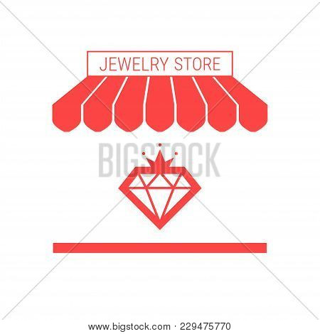 Jewelry Store, Jewelry Repair Service Single Flat Vector Icon. Striped Awning And Signboard. A Serie