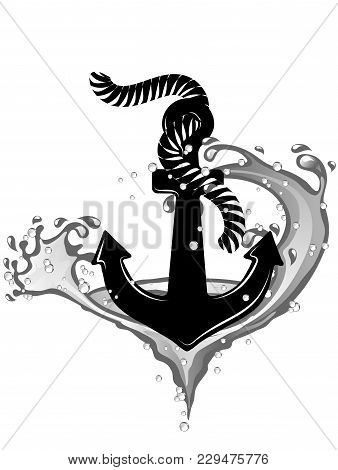 Black Anchor In Whirpool Isolated On White Background