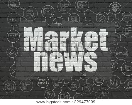 News Concept: Painted White Text Market News On Black Brick Wall Background With Scheme Of Hand Draw