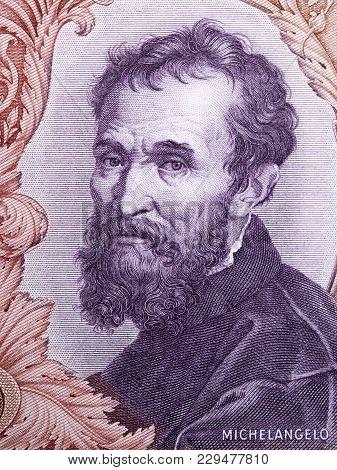 Michelangelo Portrait From Italian Money - Lire