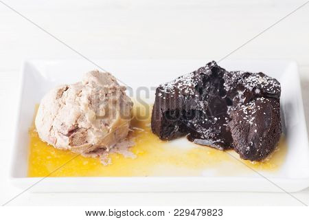 Liquid Chocolate Cake And Ice Cream On A Plate