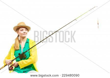 Fishery, Spinning Equipment, Angling Sport And Activity Concept. Bored Woman With Fishing Rod, Waiti