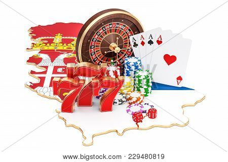 Casino And Gambling Industry In Serbia Concept, 3d Rendering Isolated On White Background