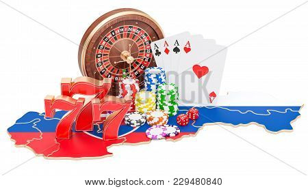 Casino And Gambling Industry In Slovakia Concept, 3d Rendering Isolated On White Background
