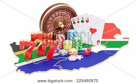 Casino And Gambling Industry In South Africa Concept, 3d Rendering Isolated On White Background