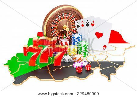 Casino And Gambling Industry In Sudan Concept, 3d Rendering Isolated On White Background