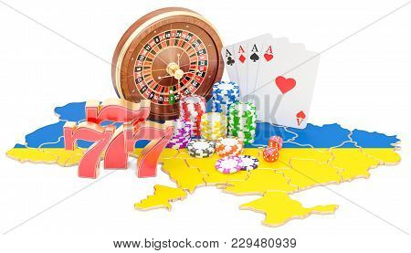 Casino And Gambling Industry In Ukraine Concept, 3d Rendering Isolated On White Background