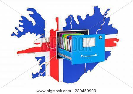 Icelandic National Database Concept, 3d Rendering Isolated On White Background