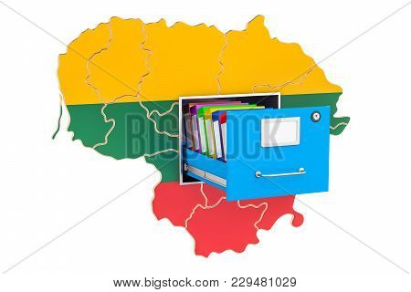 Lithuanian National Database Concept, 3d Rendering Isolated On White Background
