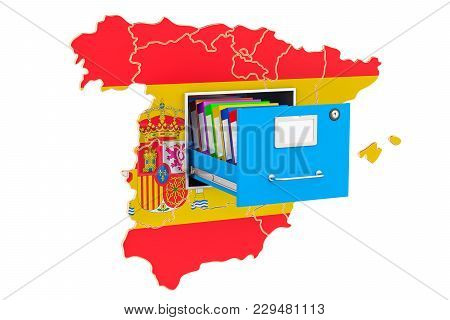 Spanish National Database Concept, 3d Rendering Isolated On White Background