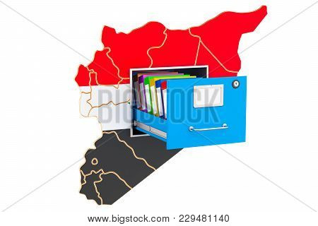 Syrian National Database Concept, 3d Rendering Isolated On White Background