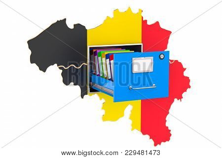 Belgian National Database Concept, 3d Rendering Isolated On White Background