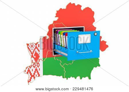 Belorussian National Database Concept, 3d Rendering Isolated On White Background