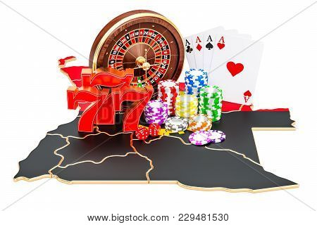 Casino And Gambling Industry In Angola Concept, 3d Rendering Isolated On White Background