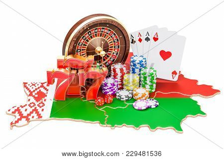 Casino And Gambling Industry In Belarus Concept, 3d Rendering Isolated On White Background