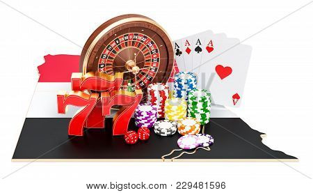 Casino And Gambling Industry In Egypt Concept, 3d Rendering Isolated On White Background