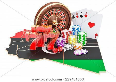 Casino And Gambling Industry In Libya Concept, 3d Rendering Isolated On White Background